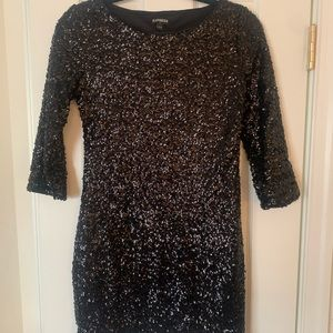 Express mini sequin dress with 3/4 length sleeves